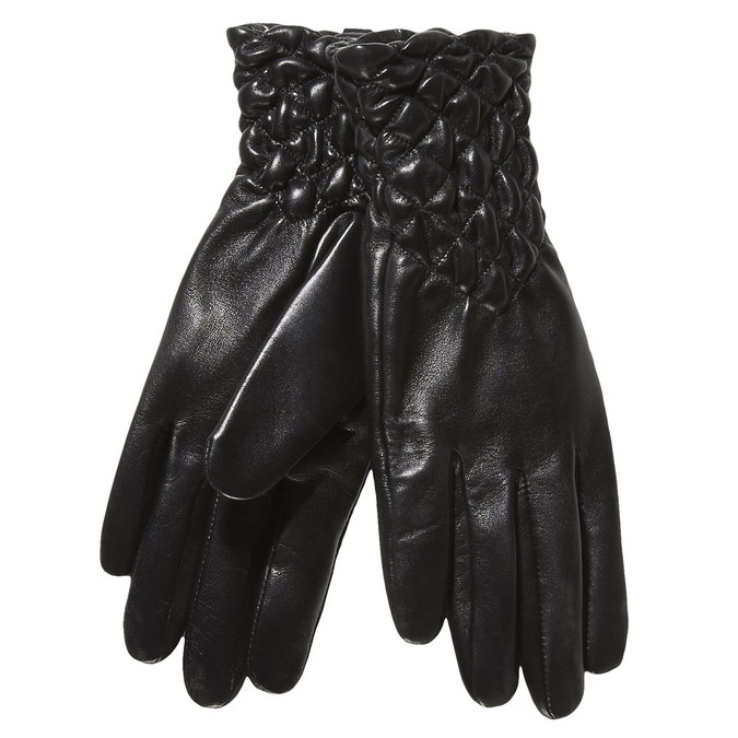 Ladies' leather gloves with quilting bata, black , 904-6113 - 13