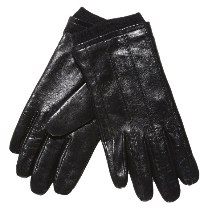 Leather gloves with knit bata, black , 904-6117 - 13