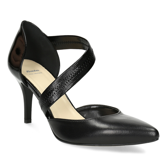 Leather pumps with T-strap bata, black , 724-6904 - 13