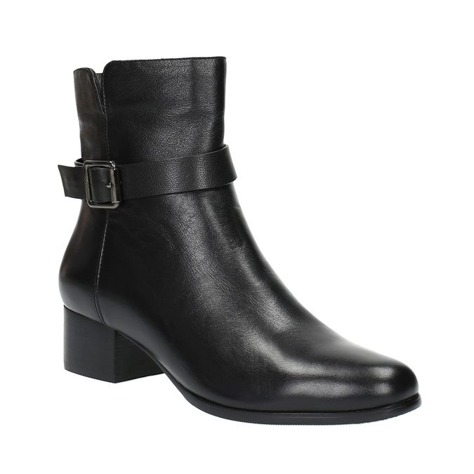 Leather low-heel ankle boots bata, black , 694-6630 - 13