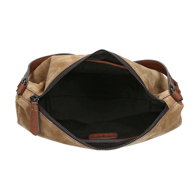 Leather handbag with quilting bata, brown , 963-3130 - 15