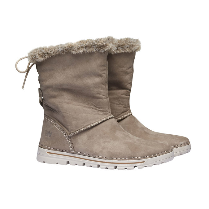 Ladies' winter boots with artificial fur weinbrenner, beige , 596-2334 - 26