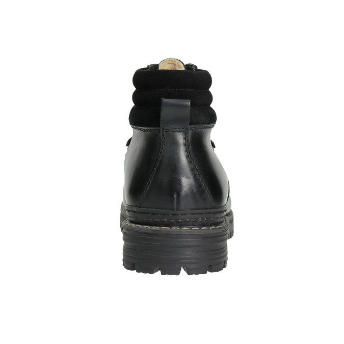 Leather Ankle Boots with Colorful Shoelaces bata, black , 894-6180 - 17