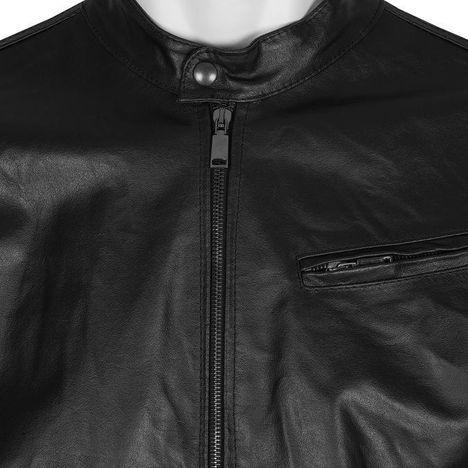 Leather jacket with trendy quilting bata, black , 974-6142 - 16