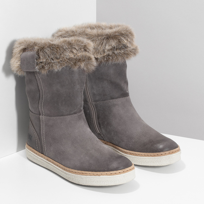 Leather winter shoes with fur weinbrenner, gray , 596-2633 - 26