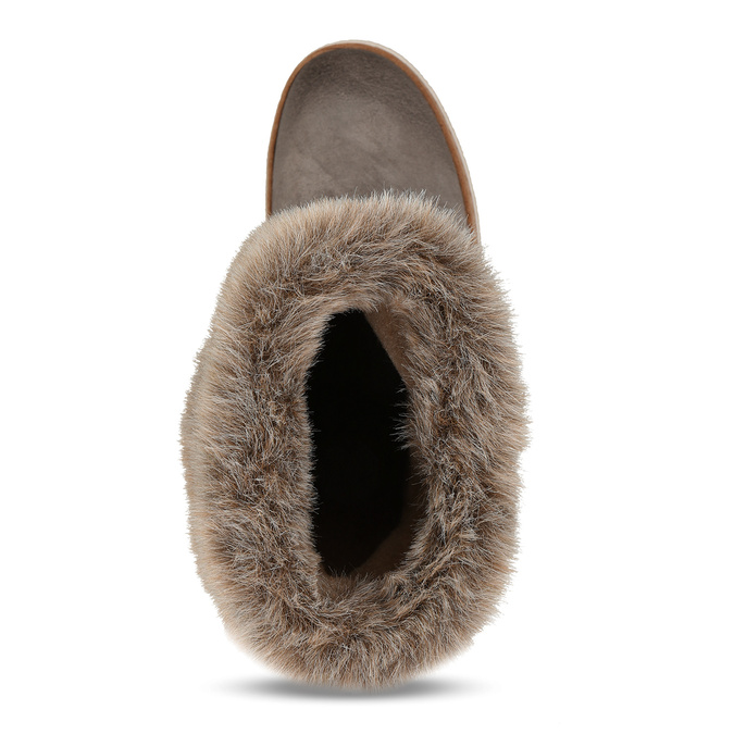 Leather winter shoes with fur weinbrenner, gray , 596-2633 - 17