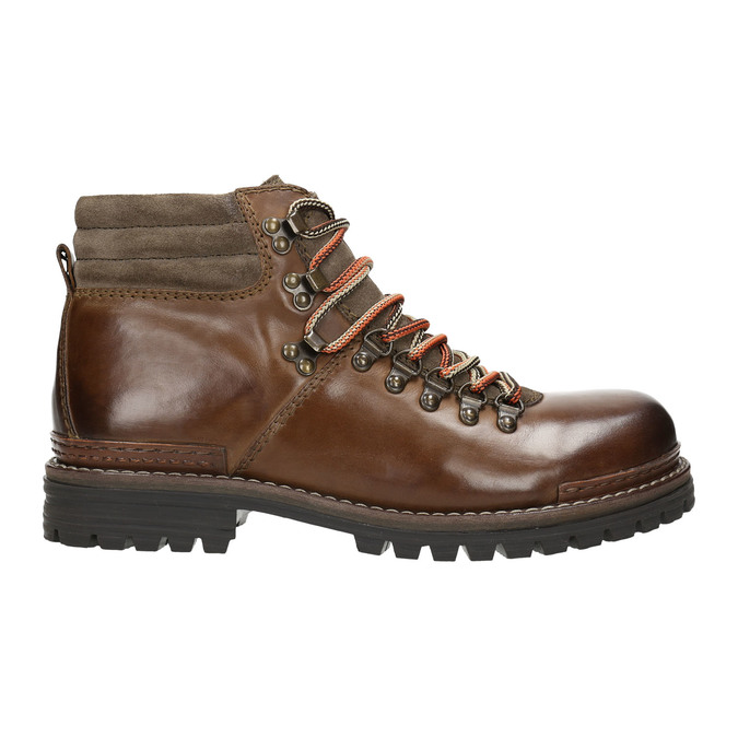 Leather Ankle Boots with Colorful Shoelaces bata, brown , 894-4180 - 15