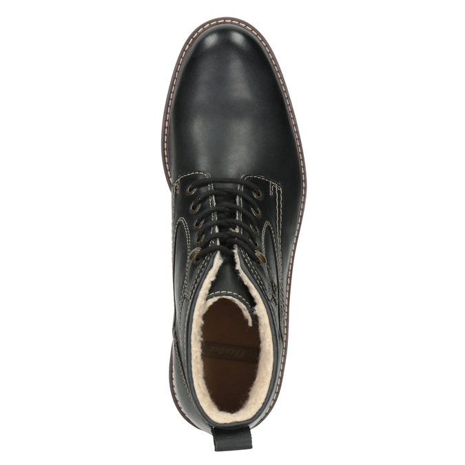 Leather winter shoes bata, black , 894-6642 - 15