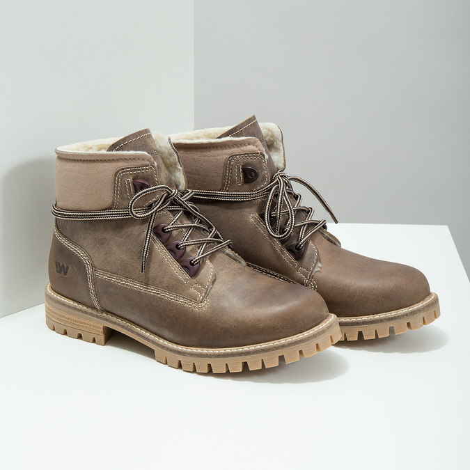 Leather winter boots with fur weinbrenner, brown , 594-2491 - 18