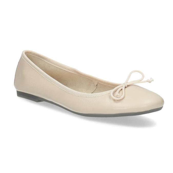 Leather ballerina shoes bata, beige , 524-8144 - 13