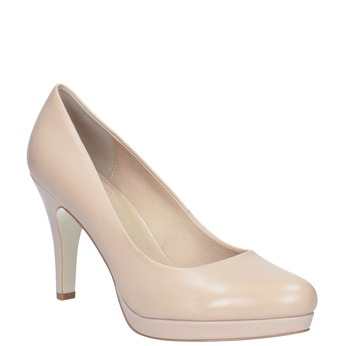 Pinkish cream-colored leather pumps insolia, beige , 724-2104 - 13